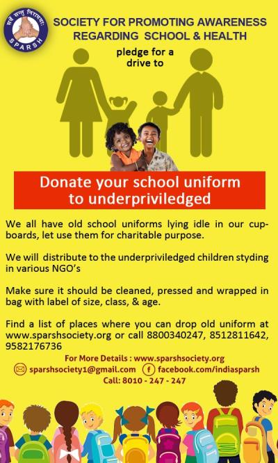 PLEDGE FOR A DRIVE TO DONATE SCHOOL UNIFORM